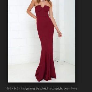 Burgundy Trumpet Style Formal Dress